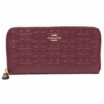 Harga กระเป๋าสตางค์ COACH F54805 ACCORDION ZIP WALLET IN SIGNATUREDEBOSSED PATENT LEATHER
