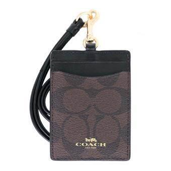 ขอเสนอ COACH กระเป๋าใส่บัตร LANYARD ID CASE IN SIGNATURE F63274 (Brown/Black)