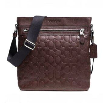 COACH MEN SIGNATURE LEATHER CROSSBODY BAG รุ่น 71797 - Mahogany