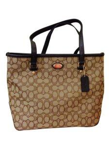 COACH OUTLINE SIGNATURE ZIP TOTE SHOULDER BAG KHAKI BROWN F36185