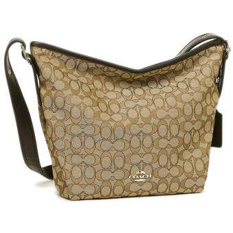 COACH Signature Dufflette Tote Shoulder Bag Khaki Brown