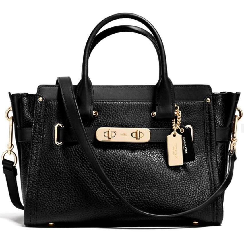 COACH swagger 27 in pebble leather STYLE NO.34816 (LIGHT GOLD/BLACK)