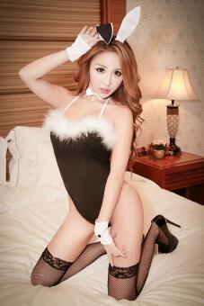 Cocotina บันนี่ชุดเซ็กซี่ชุดชั้นในหญิงชุดนอนบอดี้สูทไว้ไม่ให้เท็ดดี้+หูกระต่าย+กุญแจมือ+ชุดกระต่ายชุด (สีดำ)