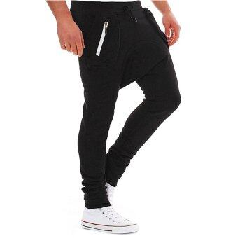 Harga Cocotina Cool Boys Men Zip Pockets Jogger Dance Hip Pop Baggy Harem Pants Slack Solid Casual Sweatpants (Black)