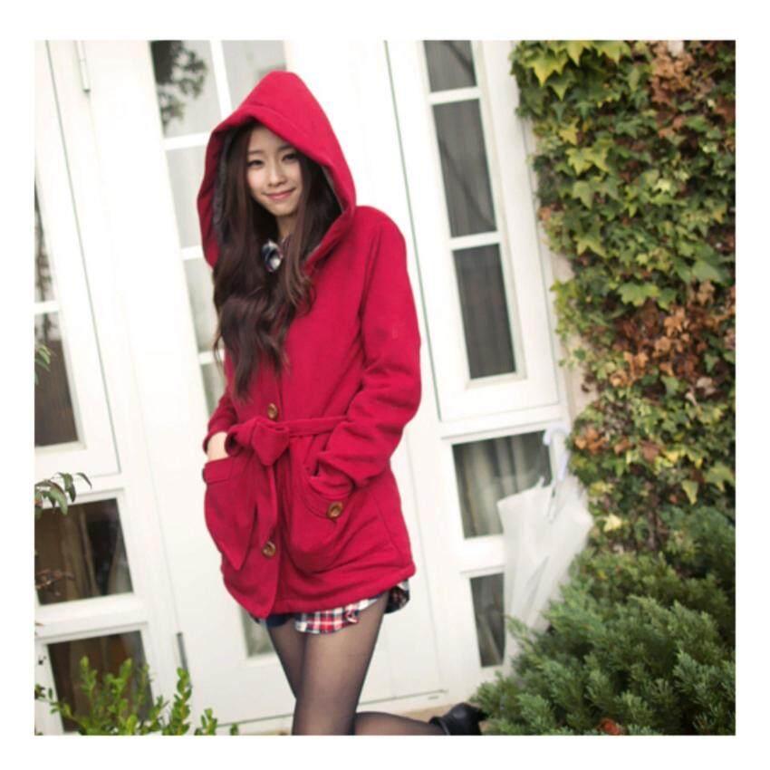 ขาย เสื้อกันหนาว ผ้า Cotton กระดุมหน้า ด้านในบุ Fur หนามากๆ ทั้งตัว มี Hood มีกระเป๋าหน้า มาพร้อมผ้าผูกเอว สีแดง (3XL)