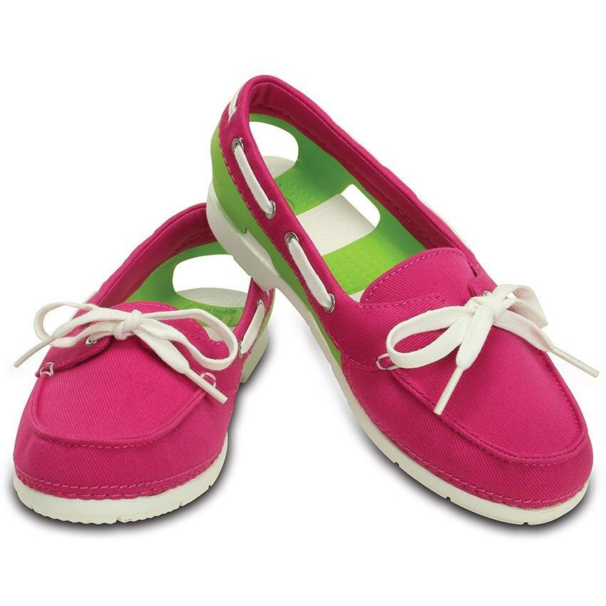 CROCS-Beach Line Hybrid Boat Shoe W-Candy Pink/Volt Green-W5(US)