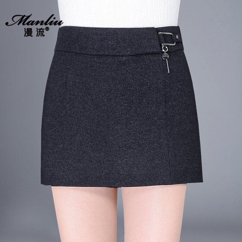 ป่าทำด้วยผ้าขนสัตว์ใหม่หนาสั้น culottes กางเกงขาสั้น (สีดำ)