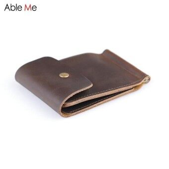 Custom Name purses gifts ruble  dollar money holder high quality handmade split leather purse solid color short wallet men - intl