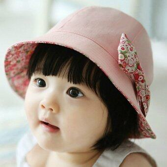 Cute Baby Girls Floral Princess Hat Summer Outdoor Sun ProtectionCap With Removable Bowknot- Pink - intl
