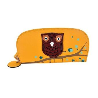 Cute Owl Stereoscopic Rounded Women Zipper Long Wallet Ladies\nClutches Bags Card Holders - intl