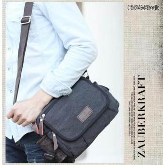 Allday CV16-Black กระเป๋าสะพายข้าง ผ้าแคนวาส สีดำ กระเป๋าสะพายไหล่ กระเป๋าผู้ชาย