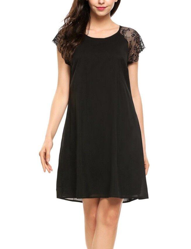 Cyber Low Profit Women Hollow Lace Short Sleeve A-Line Cocktail Short Dress( Black ) - intl