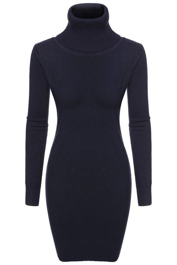 Cyber Zeagoo Women Casual Knit Turtle Neck Long Sleeve Bodycon Slim Sweater Dress ( Dark Blue )