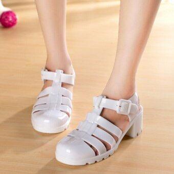 D11 แฟชั่นน่ารักสตรีรองเท้าแตะรองเท้ายาง Slingback เรโทรเยลลี่สีรองเท้าพื้นรองเท้า