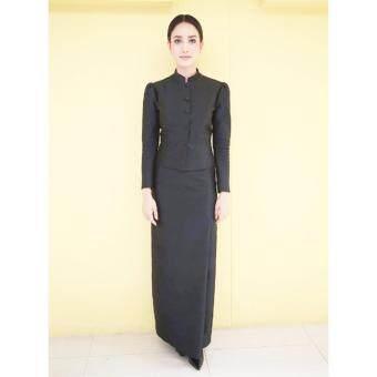 Dokpikul-ชุดไทยจิตรลดา ผ้าซาติน ไหมนิ่ม (เฉพาะเสื้อ) ชุดดำ ไว้อาลัยชุดเคารพพระบรมศพ - สีดำ