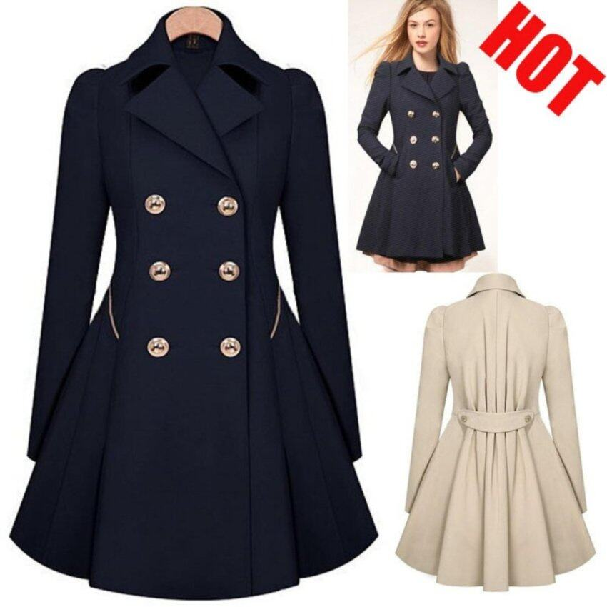 Double-Breasted Trench Coats Women Winter Outwear Clothing-black - intl