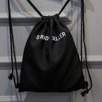ผ้าใบสำหรับผู้ชายและผู้หญิงนักเรียน drawstring พอร์ตคานถุงกระเป๋าเป้สะพายหลัง (สีดำ strady seii)