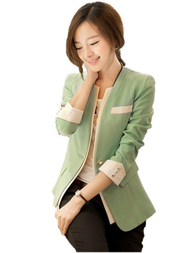 Dress Up House  เสื้อสูทแฟชั่น แขนยาว - สีเขียว/ขาว