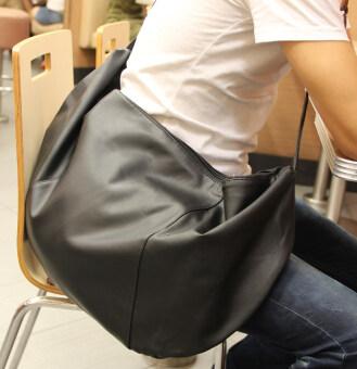 ชายแต่ละแพคเกจหนังกระเป๋าเดินทางกระเป๋านักเรียน DumplingsBagสันทนาการกระเป๋าสะพายใบใหญ่ต้มความจุ (สีดำ)