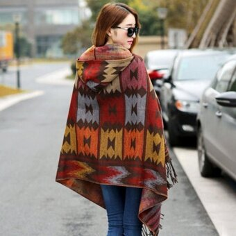 Eachgo Women Boho Tassels Cape Cloak Scarf Shawl Knit SweaterHooded Coat - intl