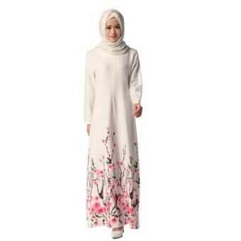 Elegent Long Sleeve Muslimah Jubah Dress Froal Printed Long Women\nDresses - intl