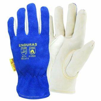 ENDURAS: ถุงมืออาร์กอน รุ่น เอ็นดูรัส กันความร้อน ฝ่ามือหนังผิววัว หลังมือหนังสปริต (1 คู)
