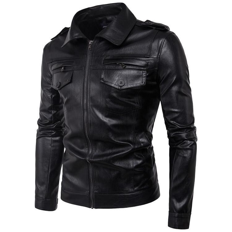 EP New Men's Leather Jacket Black Slim Fit Biker Motorcycle Genuine Lambskin Jacket Detachable Sleeves - BLACK - intl