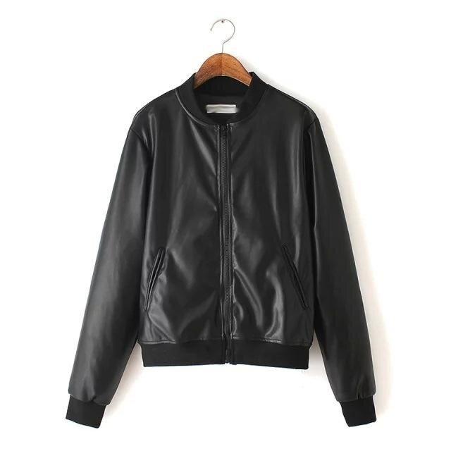 EP Women Fashion Casual Slim Leather Jacket Short Coat Motor Motorcycle Jacket Biker Coat - intl