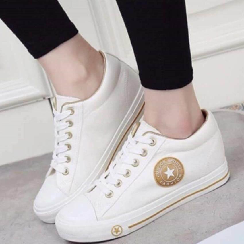 ESTHER รองเท้าผ้าใบแฟชั่นผู้หญิง รุ่น CM9107 - WHITE/GOLD (สีขาว)