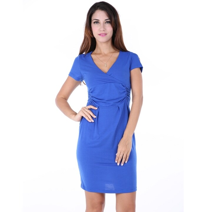 Europe Elegant Maternity Ladies V Collar Short Sleeve Stretch Business Tunic Dress - intl