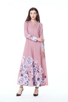 European Station Muslim Flower Dress Long-sleeved Pendulum HorseSuit Dress(Blue) - intl