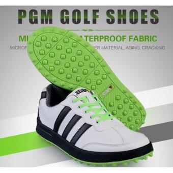EXCEED รองเท้ากอล์ฟ PGM GOLF MEN SHOES (XZ021) WHITE-BLACK-GREEN COLOUR SIZE EU:39 - EU:44 สีขาวแถบดำพื้นเขียว