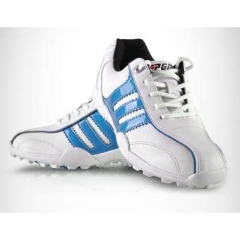 EXCEED Unisex GOLF SHOES WHITE-BLUE Colour รองเท้ากอล์ฟ PGMสีขาวแถบฟ้า XZ001 ( SIZE EU : 32 - EU : 44 )