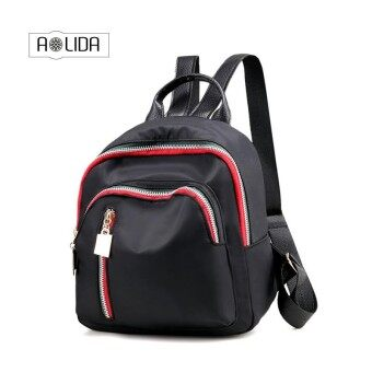 Fabra Small Waterproof Nylon Women Backpack Fashion Black Shoulder Back Bag Preppy Style Backpacks for Teenage Girls - intl