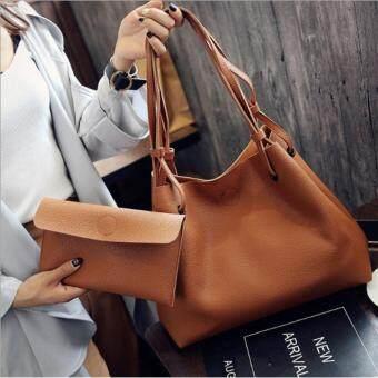 Fashion Bag กระเป๋าเป้ กระเป๋าสะพายข้างสีดำ กระเป๋าเซต 2 ใบ No.0111- Brown