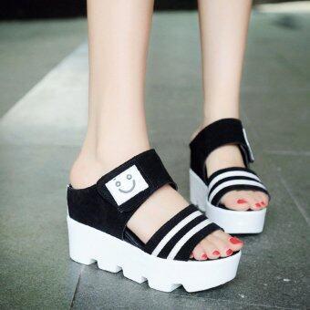 Fashion Female Wedge Sandals Smile Pattern Velcro Slipper Summer Casual Heeled Sandals Peep Toe Black XZ248 - intl