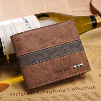 Fashion Genuine Short Man Purse Slim Wallet Cross Multi Card Bag -Horizontal B