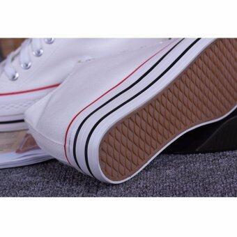 Fashion Korean version Canvas shoes รองเท้าผ้าใบสีขาวรองเท้าเพิ่มความสูงสำหรับผู้หญิง 8801(White) - 5