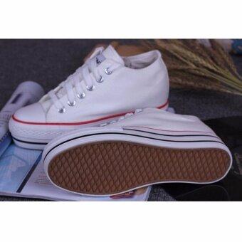 Fashion Korean version Canvas shoes รองเท้าผ้าใบสีขาวรองเท้าเพิ่มความสูงสำหรับผู้หญิง 8801(White) - 4