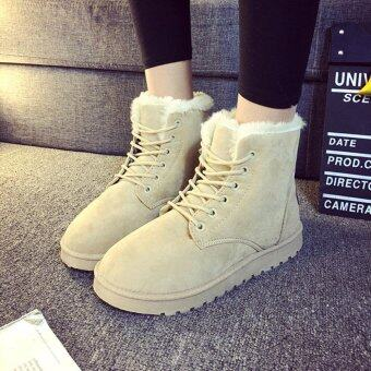Fashion Ladies Women Boots Flat Ankle Lace Up Fur Lined Winter WarmSnow Shoes - intl