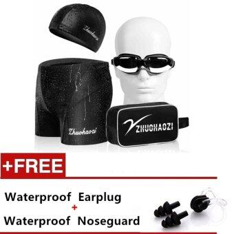 Fashion Men Swimwear Summer Beach Swimming Trunks Swimming Glasses Swimming cap Set - intl