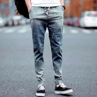 Fashion Men's Ripped Denim Pants Casual Mens Joggers Male BikerJeans Pant Men Harem Pants Korean Slim Fit Hip Hop Man Jeans - intl