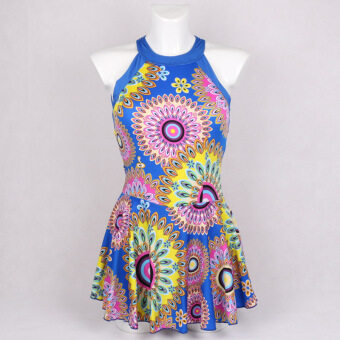 Fashion printing ms boxer skirt one-piece bathing suit small pure and fresh and swimsuit (Blue)