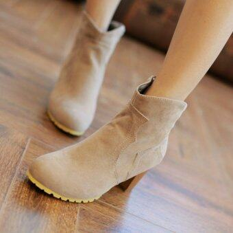 Fashion Women Martin Boots Female Retro High-heeled Solid Color Boots (Tan)