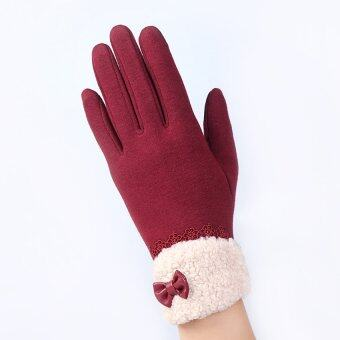 Fashion Women Outdoor Winter Warm Click Touch Screen Gloves (Red) -intl