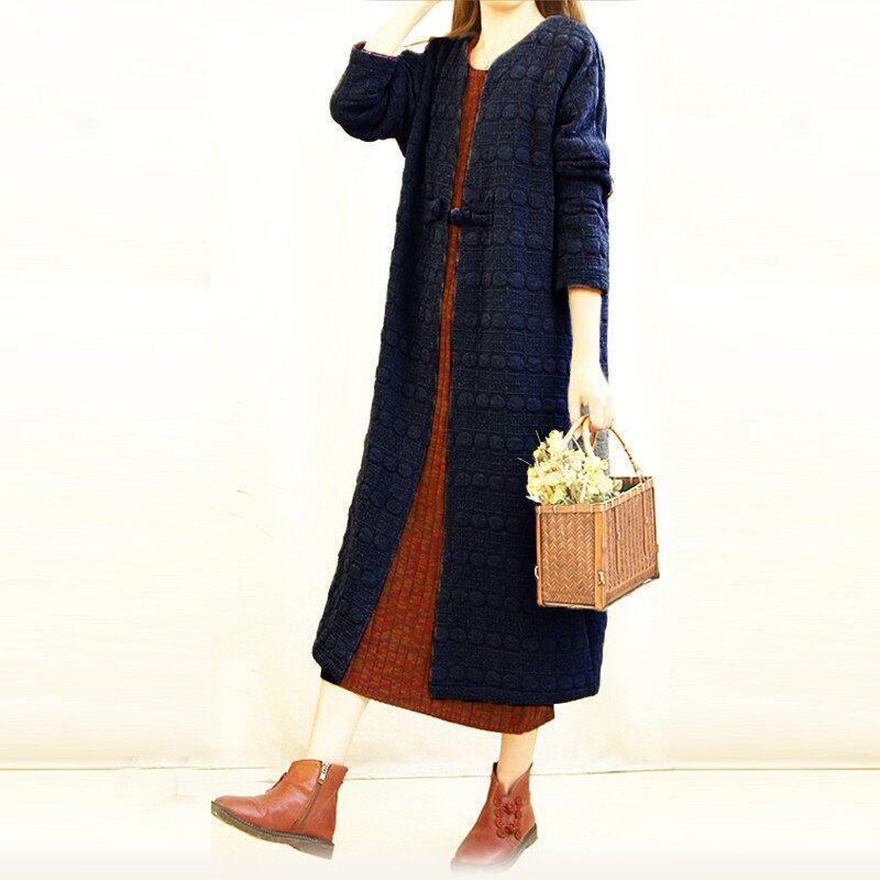 Fashion Women Retro Ladies Chinese Style Chunky Thick Long Cardigan Jacket Coats Outwear Shirt - intl
