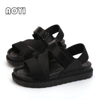 Harga Fashion Women Sandals Korea Style Casual PU Flat Sandals Flip FlopsSlipper ( Black ) - intl