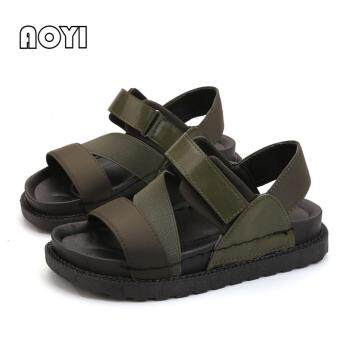 Harga Fashion Women Sandals Korea Style Casual PU Flat Sandals Flip FlopsSlipper ( Green ) - intl