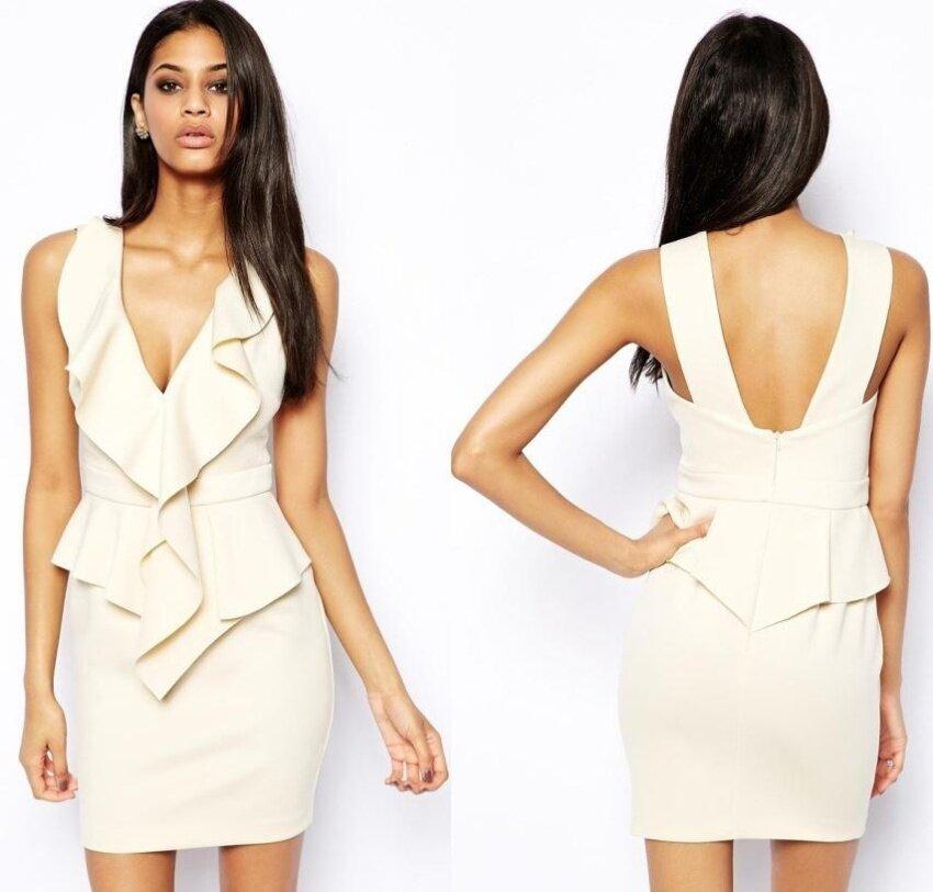 Fashion Women Sexy Deep V-neck Sleeveless Bodycon Elastic Braces One Piece Career Mini Dress White(Beige) - intl