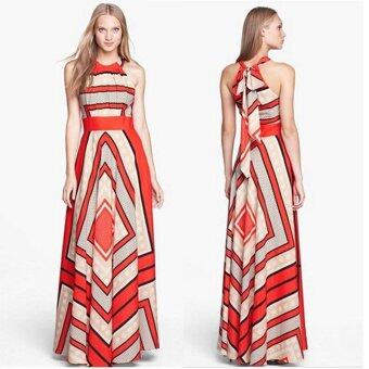 Fashion Women's A-Line Dresses Summer Beach Style Casual Dresses -Red - intl